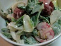 葉タマネギとミニトマトの味噌マヨ和え