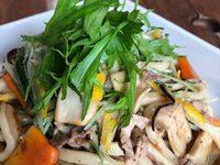 小金井野菜で簡単レシピ-柚子香る水菜の焼きうどん